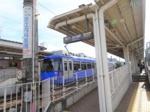 東急世田谷線宮の坂駅のホーム